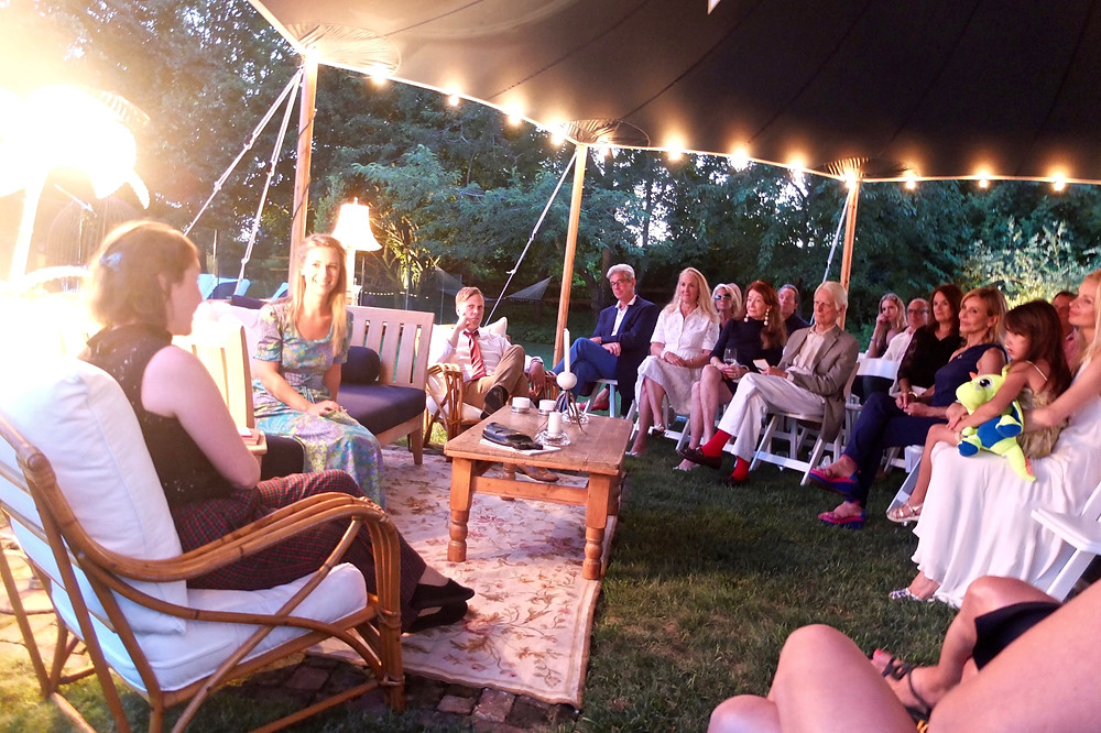 unique garden party entertainment dinner party event idea summer audience watching actors on stage