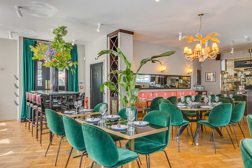 A very sleek restaurant with aqua blue dining chair and plants on the tables