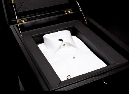 Eton white shirt with diamonds as buttons in a high security black case