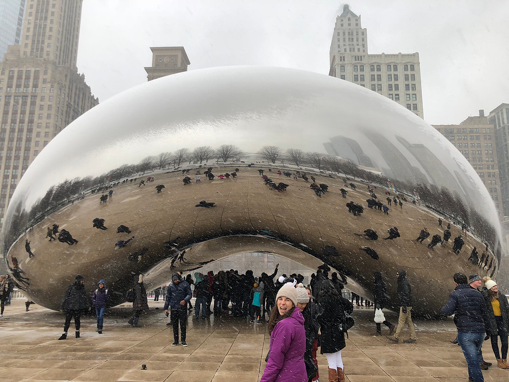 chicago bean cloud gate snow and smiling lady