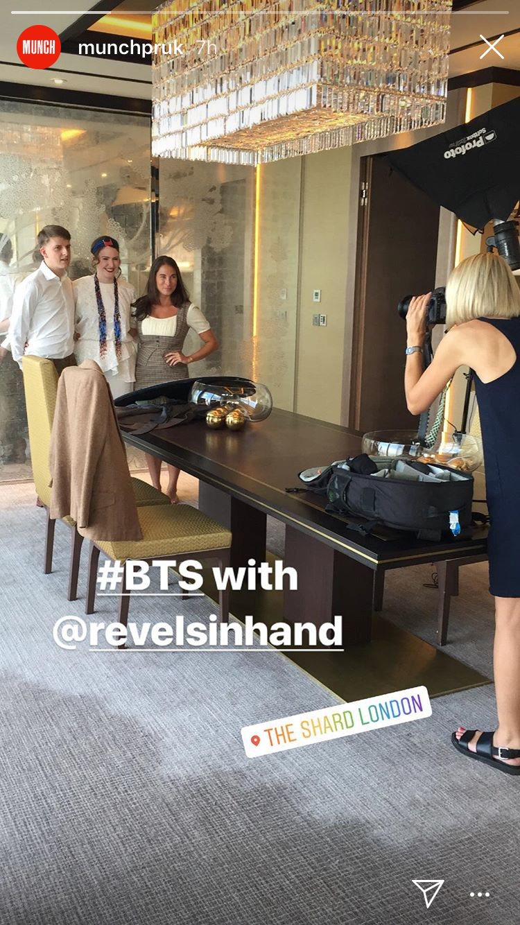 screenshot from instagram story of photo shoot with revels in hand
