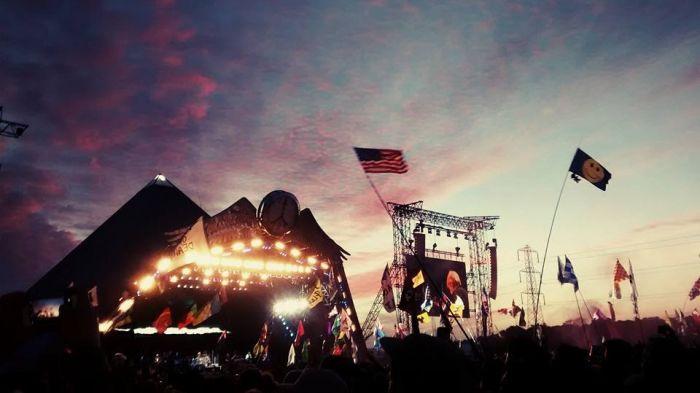 Sunset over the Glastonbury pyramid stage 2015
