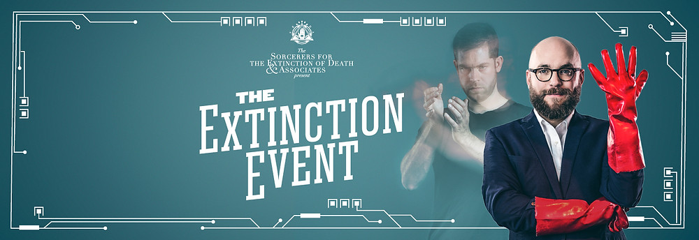 the extinction event poster ai man in rubber gloves