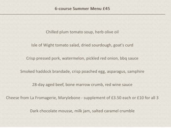 Example tasting menu from Picture Restaurant London