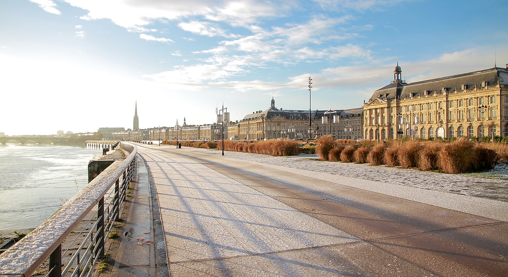 Bordeaux by the river on a sunny winter day