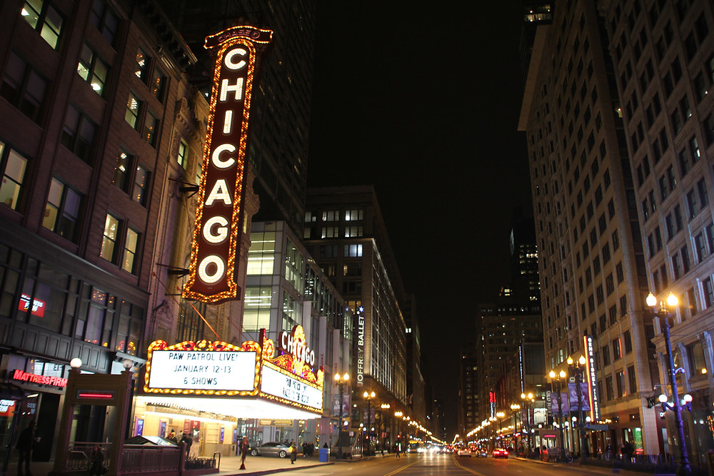 Chicago at night neon sign