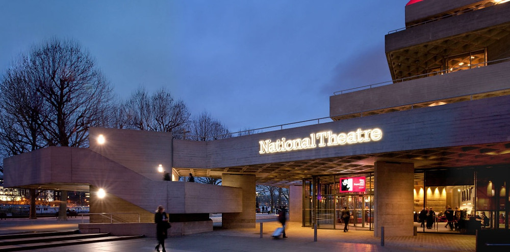national theatre front yard in winter with bare trees in the background