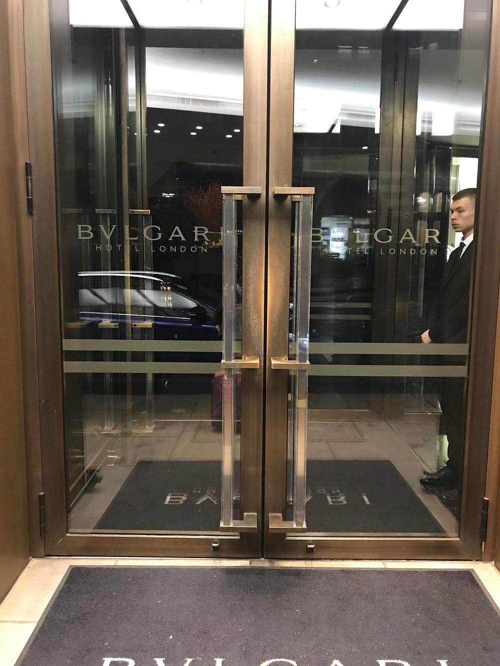 Entrance doors to bulgari bvlgari hotel in knightsbridge london