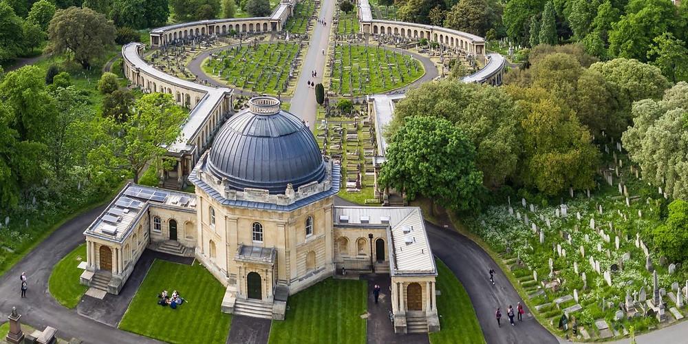 Brompton Cemetery arial shot in summer beautiful symmetry