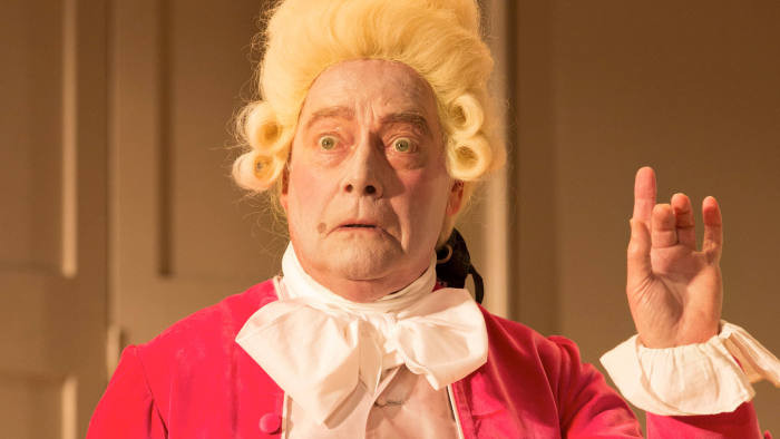 school for scandal restoration comedy man in big white wig