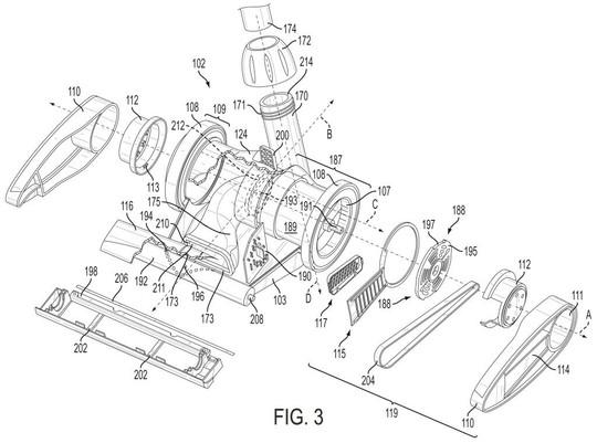 Mechanical patent drawing illustration 9