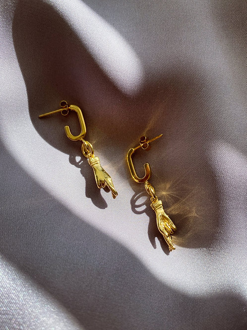 Yellow Gold Plated Fingers Crossed Earrings