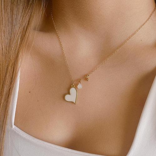 Collar Corazón Blanco