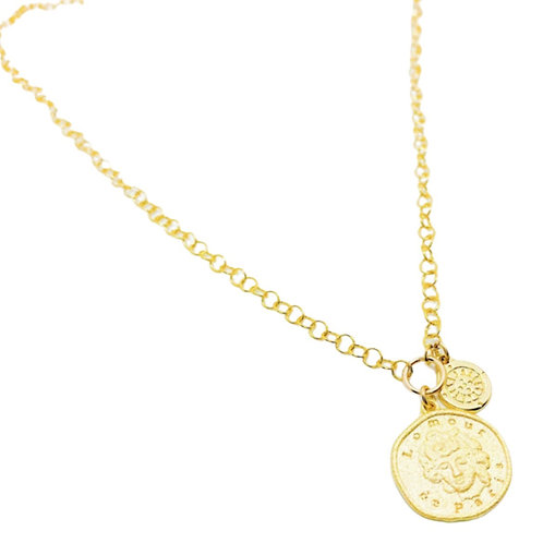 Collar Moneda doble Gold