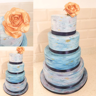Watercolour Cake with a Gold Rose