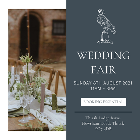 Come along and meet me! Wedding Fair 8th August at Thirsk Lodge Barn
