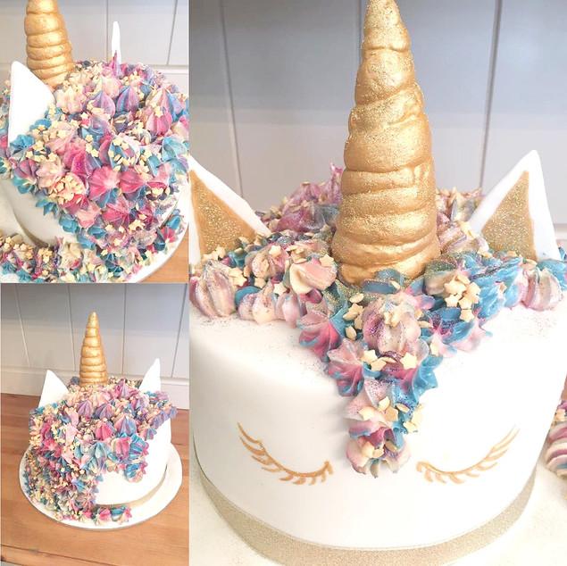 Rainbow Coloured Sponge Unicorn Cake