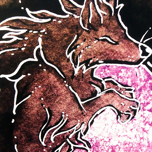 Ink Wolf Print