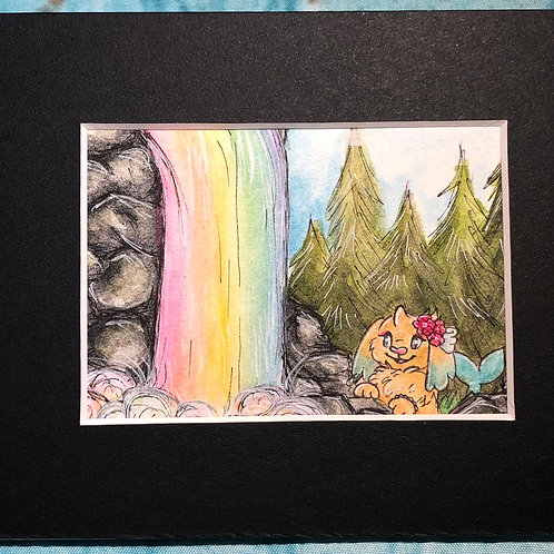 "Matted Original ""Rainbow Falls"""