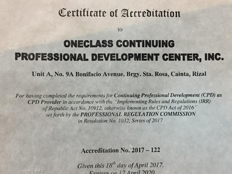OneClass CPD is accredited by the PRC as local CPD provider