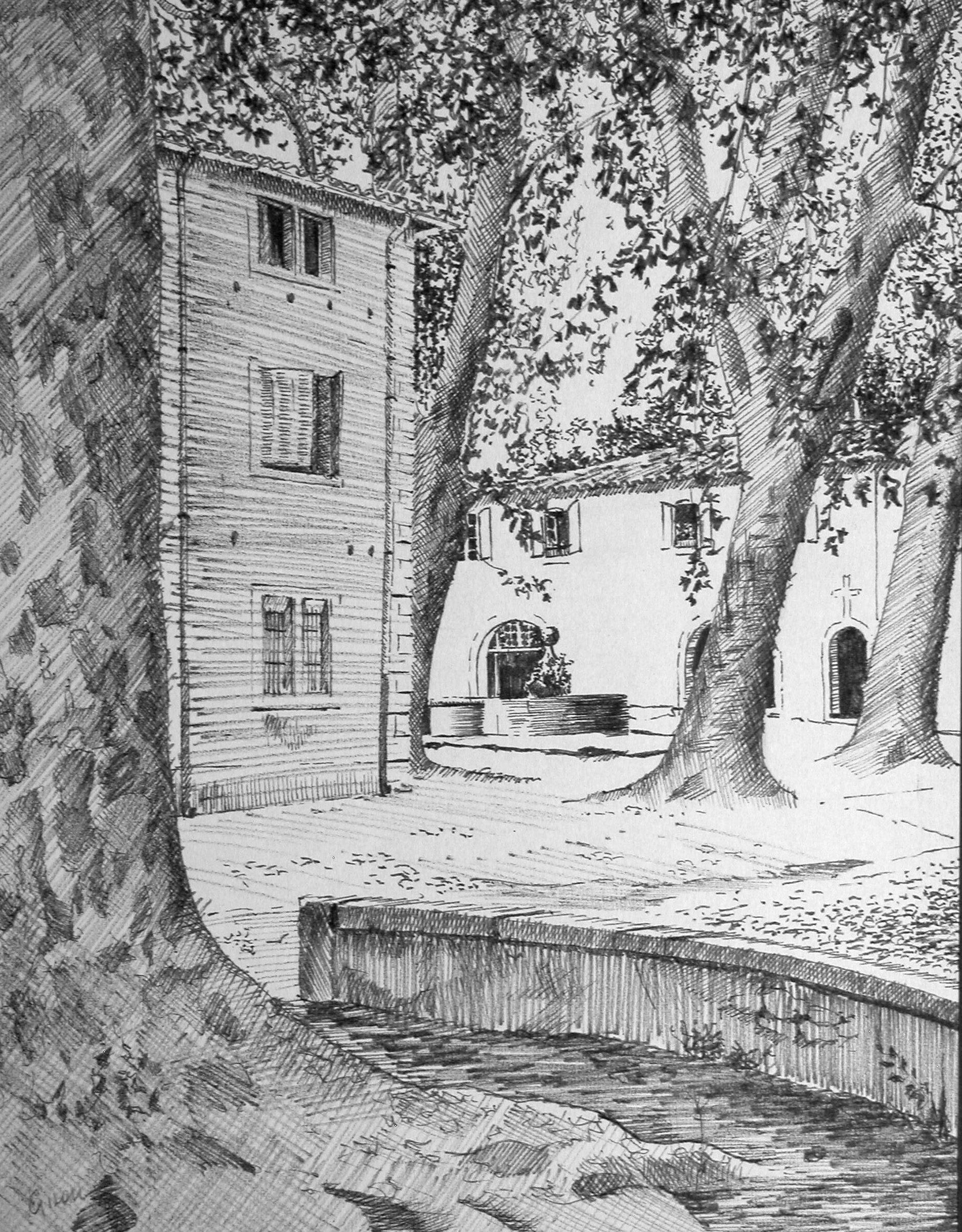 Gilou, Villeneuvette La place