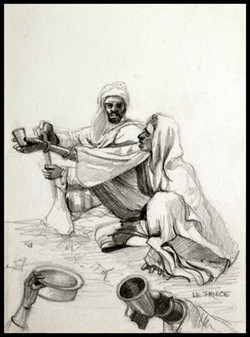 -Dessin,drawing, Mendiants,beggars 14 x 10 cm