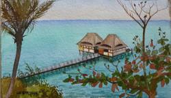 Ponton sur le lagon à Zanzibar.