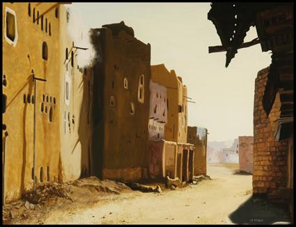 - Gouache, Soleil de plomb,Hard sun,Yemen, 50 x 65 cm