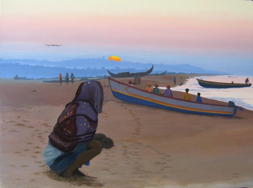 -h_t,L'aube sur la plage, Sunrise on the beach,  o_c, 97x 130 cm
