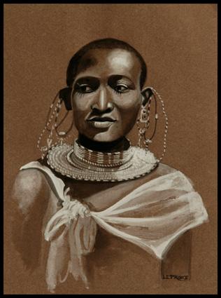 - Encre,ink, Femme Masaï,Masaï woman, 21 x 15 cm., jpg