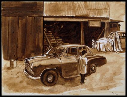 Au garage. The garage. India