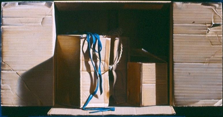 Carton au lacet bleu