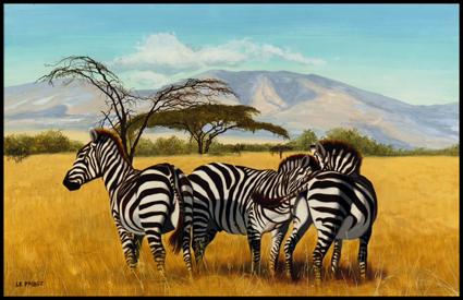 -_Gouache,_Les_trois_zèbres,_the_three_zebras,_32_x_50cm