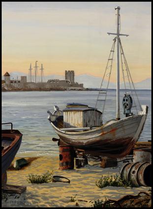 -_Gouache,_Chalutiers_à_Rhodes,_Trawler_in_Rhodos,_25_x_35_cm