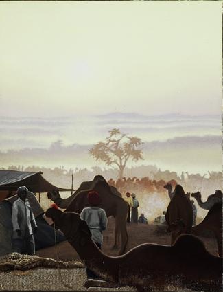 -h_t,Marché_aux_chameaux,_à_l'aurore_Camel_market_at_sunrise,__o_c,_35_x_27_cm