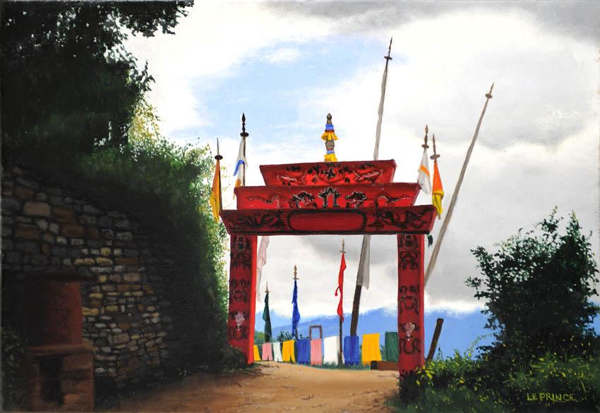 Entrée du temple au Bouthan.