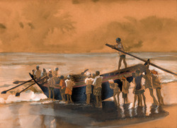 Le départ des pêcheurs.