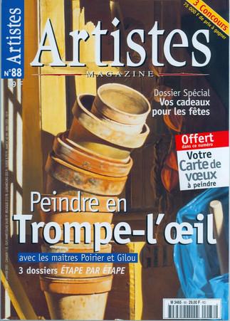 Couverture Artistes magazine N°88-2003