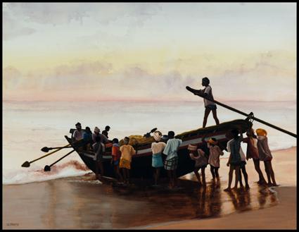 -_Aquarelle,_watercolor,Aurore_à_Mahalabipuram,_Down_in_Mahalabipuram50_x_65_cm