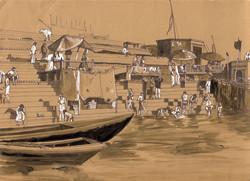 Ghat à Benares. Ghat in Benares.