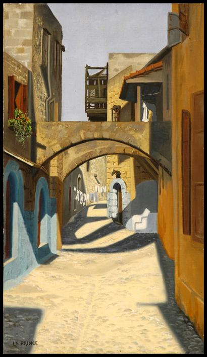 -h_t,Rue à Rhodes, street in Rhodos, 33 x 19 cm ,o_c