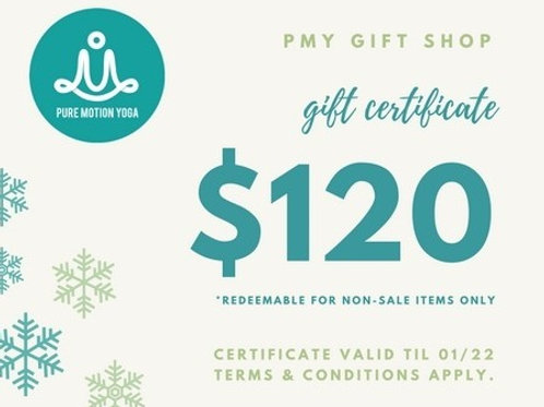 Gift Certificate $100 for $120 Value