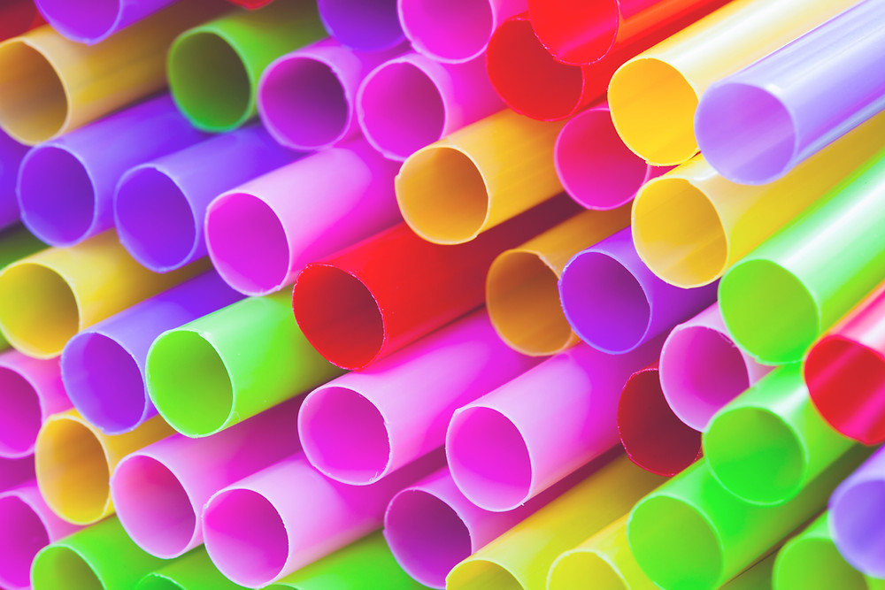 Group of plastic straws, straw ban