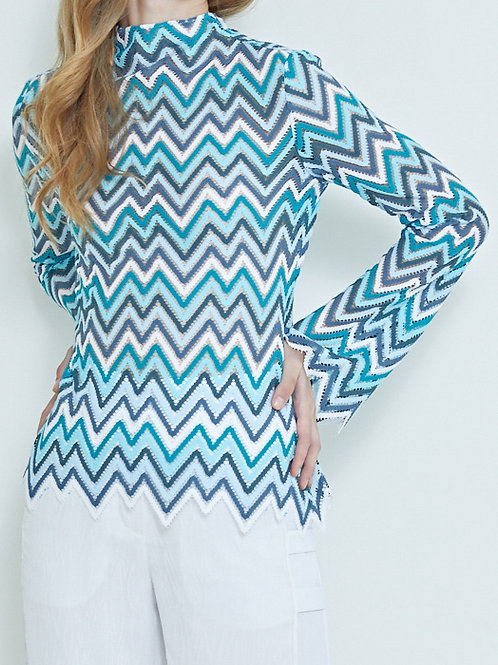 MOCK-NECK CHEVRON WOVEN BLOUSE