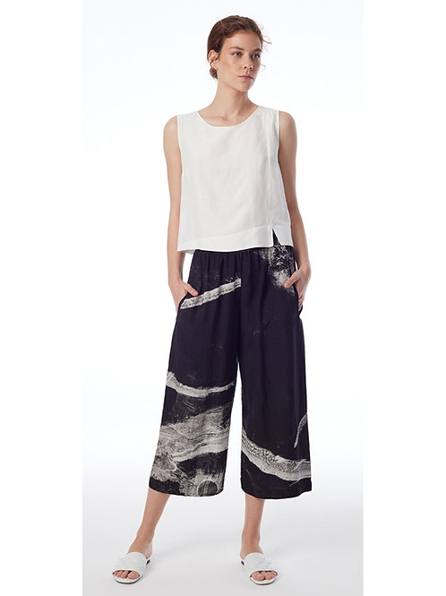 BLACK & WHITE BRUSH STROKE PANTS