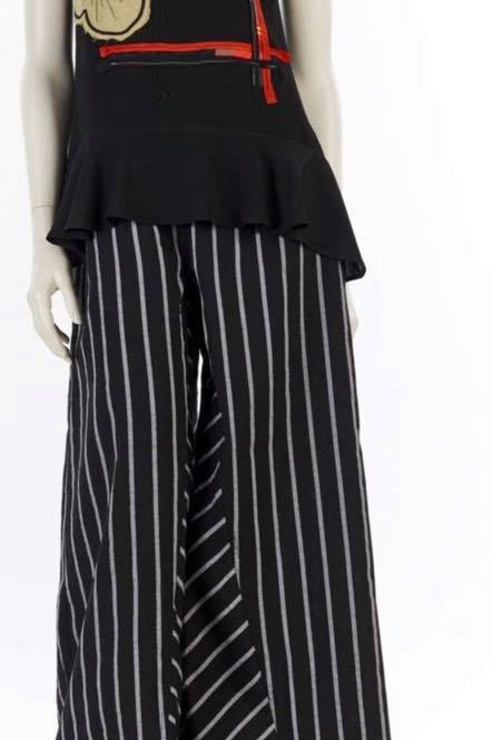 COTTON PINSTRIPE WIDELEG PANTS
