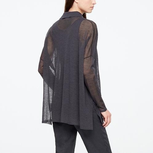 mesh buttton blouse