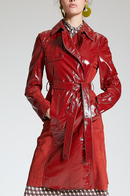 GLOSS COATED SUEDE COAT