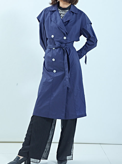 PLEAT BACK NAVAL TRENCH COAT