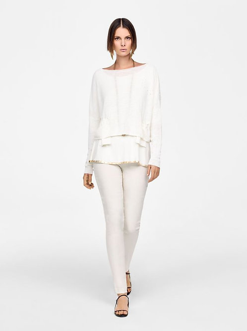WHITE CROPPED LINEN SWEATER